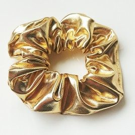 Scrunchie leatherlook Goud