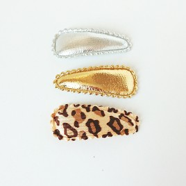 Haarspeldjes zilver, goud, luipaard