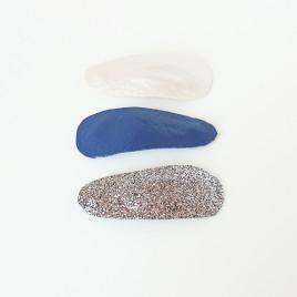 Haarspeldjes blauw, wit, glitter