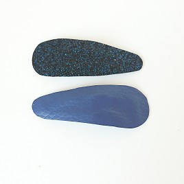 Haarspeldjes leer blauw, glitter zwart/blauw