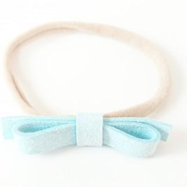 Elastische haarbandje grote strik, lichtblauw