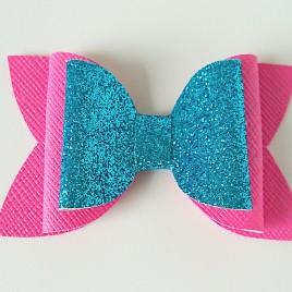 Strik Neon roze en blauw glitter