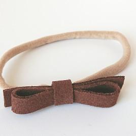 Elastische haarband grote strik, donkerbruin
