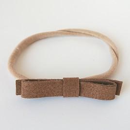 Elastische haarband grote strik, middenbruin