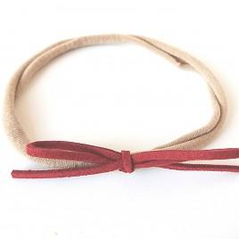 Elastisch haarbandje kleine strik, roodbruin