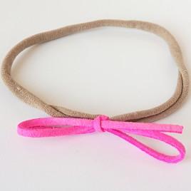 Elastisch haarbandje kleine strik, neonroze