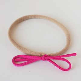Elastisch haarbandje kleine strik, fuchsia